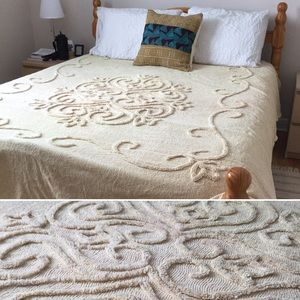Vintage Chenille Bedspread Filigree Pale Yellow